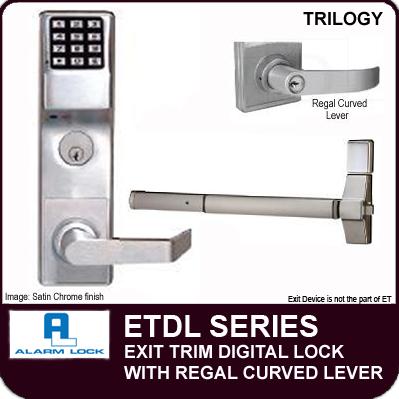 Alarm Lock Trilogy Etdl Series Exit Trim Curved Lever