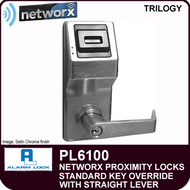 Alarm Lock Trilogy PL6100 - NETWORX PROXMITY DIGITAL LOCKS - Standard Key Override with Straight Lever