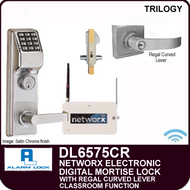 Alarm Lock Trilogy DL6575CR - NETWORX ELECTRONIC DIGITAL MORTISE LOCKS - Regal Curved Lever Classroom Function