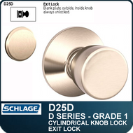 Schlage D25D- Heavy Duty Commercial Exit Knob Lock
