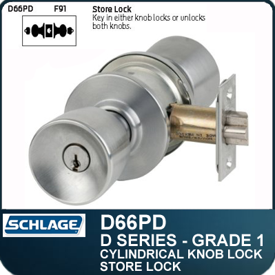 Heavy Duty Commercial Store Knob Locks - Double Cylinder