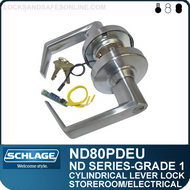 Schlage ND80PDEU - Heavy Duty Electrically Unlocked Lever Lock, Single Cylinder