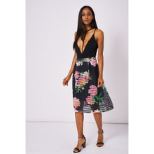Modern Outfitters | Black Floral Print Pleated Skirt