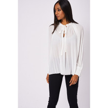Modern Outfitters | White Neck Tie Pleated Blouse