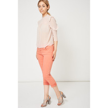 Modern Outfitters | Coral Pink Raw Hem Straight Leg Jeans