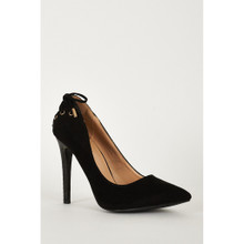 Modern Outfitters | Black High Heel Lace Detailed Court Shoes
