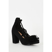 Modern Outfitters | Black Lace Up Fringed Faux Suede Block Heel Shoes