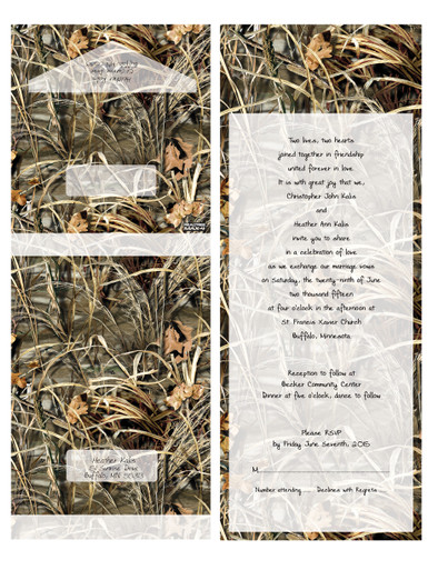 """These Realtree Camo invites are specifically created so you do not need an envelope . They are folded and sealed and mailed just as they are. The invitation features a perforated response card printed with your return address on one side and your response wording on the other. The price of the invitations includes your wording and reception information printed inside in the format shown. The wording is printed in black.  All our invitations are printed professionally on uncoated cover stock. Realtree trademarked and licensed.  Final printed packages include: - 15 1/2"""" x 6"""" (with perforated RSVP) - Folded Size: 6"""" x 4 3/8"""" - Clear sticker seals    READY TO ORDER - - - - - - - - - - - - - - - - - - - - - 1. SUBMIT ORDER online (below)  2. SUBMIT WORDING Please Email wording and details to: papersbest@gmail.com Importation to include: Your wedding verse copy, Respond Date and Return Address.  3. REVIEW PROOF 2-3 business days from placing order Once I receive your wedding details, I will email you a digital proof for you to review within 2 business days. Approving the wording is YOUR Responsibility. The price of the invitation includes one digital proof. If you request another proof, we will charge you an additional $10.00 for a second proof.  4. APPROVAL The invitation is approved by you. Please send us your approval by email. Approving the wording is YOUR Responsibility.  5. PRINTING Designs are sent to print when final approval is received and balance is paid in full. Turnaround time for ALL orders is exactly 2 weeks (10 business days) from final payment date until shipment date.  6. SHIPPING Your package will take 2-3 business days to arrive via USPS Priority Mail. Tracking information will by supplied once shipment is sent. If you are an international buyer, your package will take 6-10 business days to arrive via Priority Mail."""