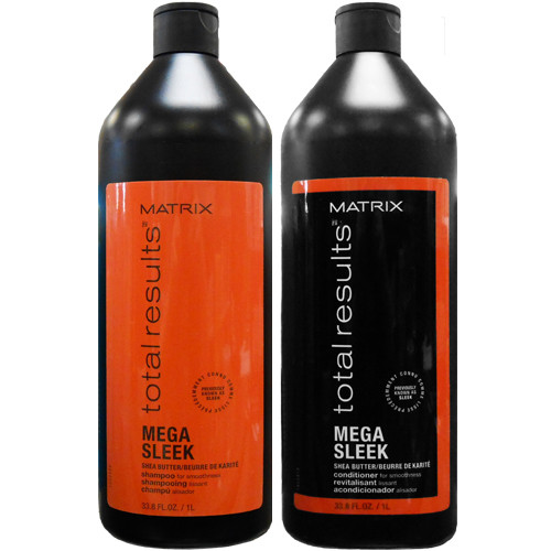 matrix total results mega sleek shampoo and conditioner liter duo