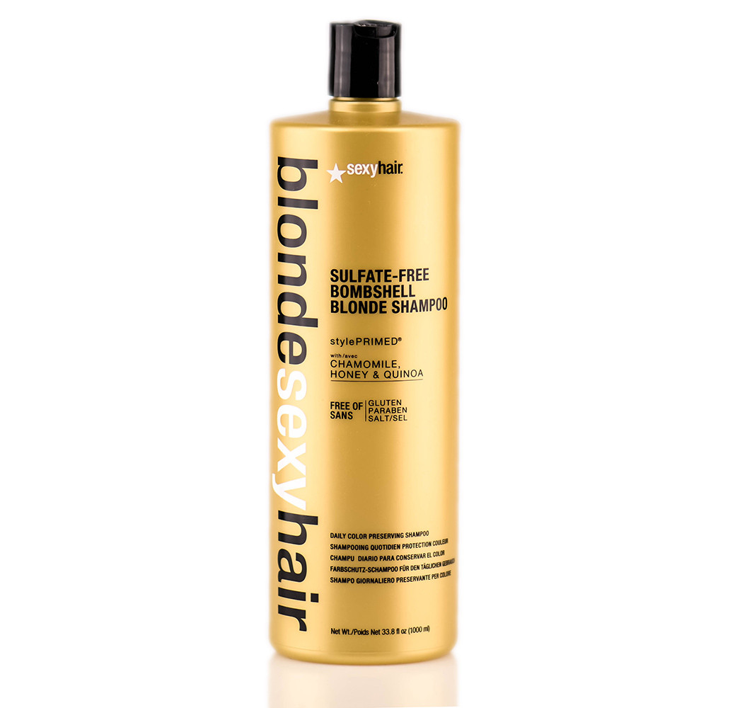 blonde sexy hair sulfate free bombshell blonde daily color preserving shampoo glamazon. Black Bedroom Furniture Sets. Home Design Ideas