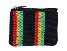 "H9-3R  -  Rasta 2 Zip Coin Purse 5"" x 4"""