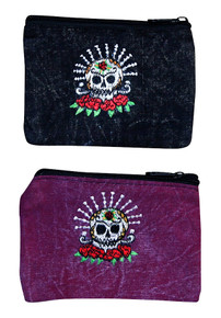 "S7-CP  -  Skull and Roses Coin Purse 6"" x 4"""