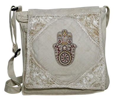 Large Humsa Print on a rayon flap bag. Sweet bead for the wisdom eye