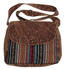 Stonewashed western bag with rivets - zipper close and adjustable strap