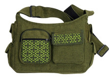 Shoulder bag with 7 pockets and zipper close. Fabric from cool aces fabric