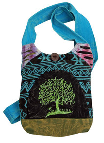 Small purse with Aztec patchwork. Embroidered Tree of Hearts makes it special - zipper close