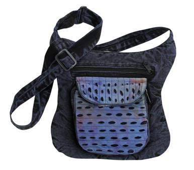 Medium shoulder bag with front pocket. Wavy design makes it look other worldly