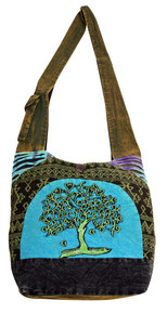 Large Barrel bag with beautiful Tree of Hearts Embroidery on patch work background