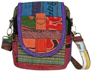 Recycled Rice material on a 5 pocket bag