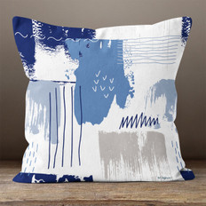 Blue Brush Stokes Throw Pillow