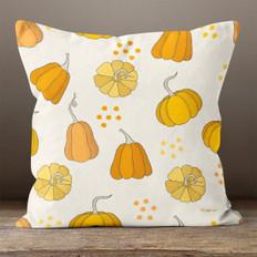 Cream with Orange Pumpkins Throw Pillow