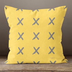 Gold with Gray X Throw Pillow