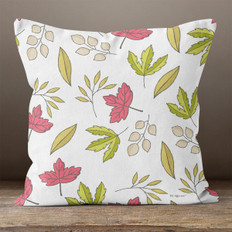 Cream with Green Pink Autumn Leaves Throw Pillow