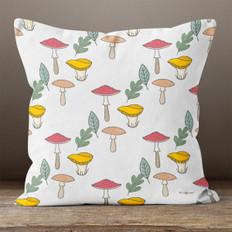 Cream Autumn Mushrooms Throw Pillow