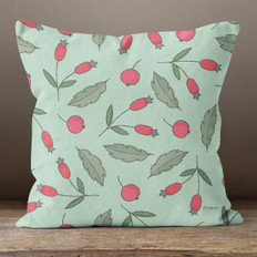 Green with Red Berries Throw Pillow