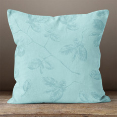 Blue Leaves on Branches Throw Pillow