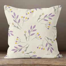 Cream with Purple Autumn Sprigs Throw Pillow