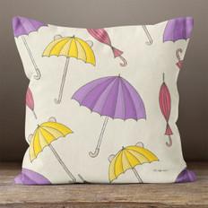Cream with Autumn Umbrellas Throw Pillow
