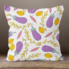 Cream with Autumn Eggplant Throw Pillow