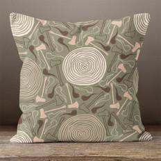 Dark Green Lumbering Jack Throw Pillow