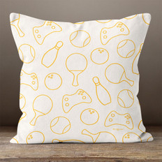 Cream Orange Games Throw Pillow