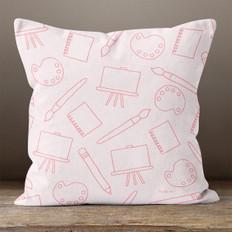 Pink Art Supplies Throw Pillow