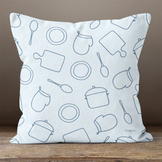 Blue Cooking Throw Pillow