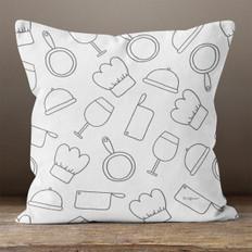 Grey Chef Throw Pillow