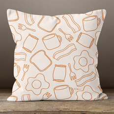 Cream Breakfast Throw Pillow