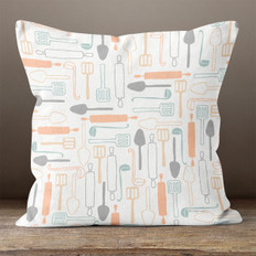 White What's Cooking Throw Pillow