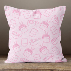 Pink Asian Cuisine Throw Pillow