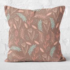 Brown Drifting Flowers Throw Pillow