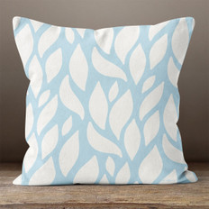 Blue with White Leaves Throw Pillow