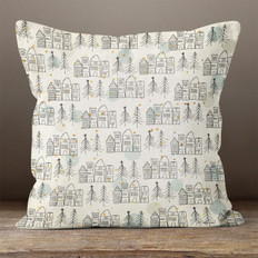 Off White Christmas Town Throw Pillow