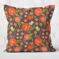 Brown Christmas Flowers Throw Pillow