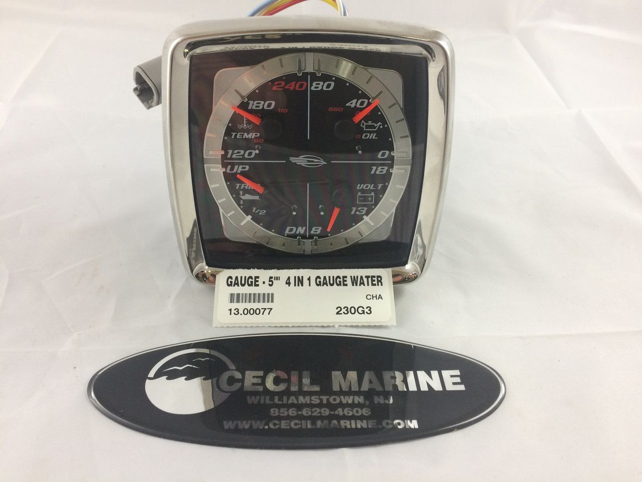 Gauge 4 In 1 5 For Mercruiser Only 1300077 Cecil Marine Tachometer Image