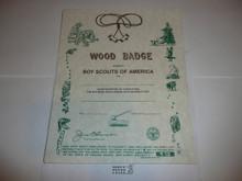 1994 Wood Badge Training Certificate, blank