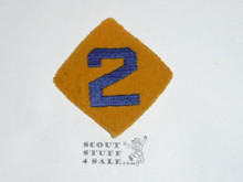 "Old Felt Cub Scout Felt Diamond Unit Number ""2"" Patch, lt use"