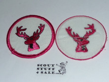 Stag Patrol Medallion, White Twill with plastic back, 1972-1989