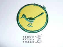RoadRunner Patrol Medallion, Yellow Twill with plastic back, 1972-1989